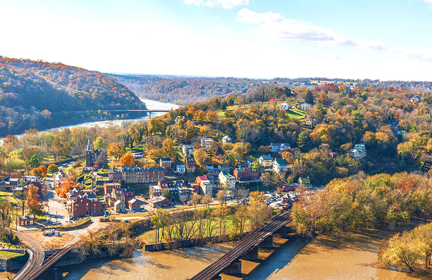 The best fall small town vacation  spot is Harpers Ferry in West Virginia
